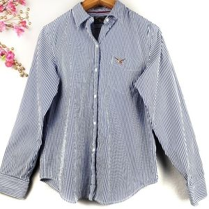 American Living striped long sleeves button-down L